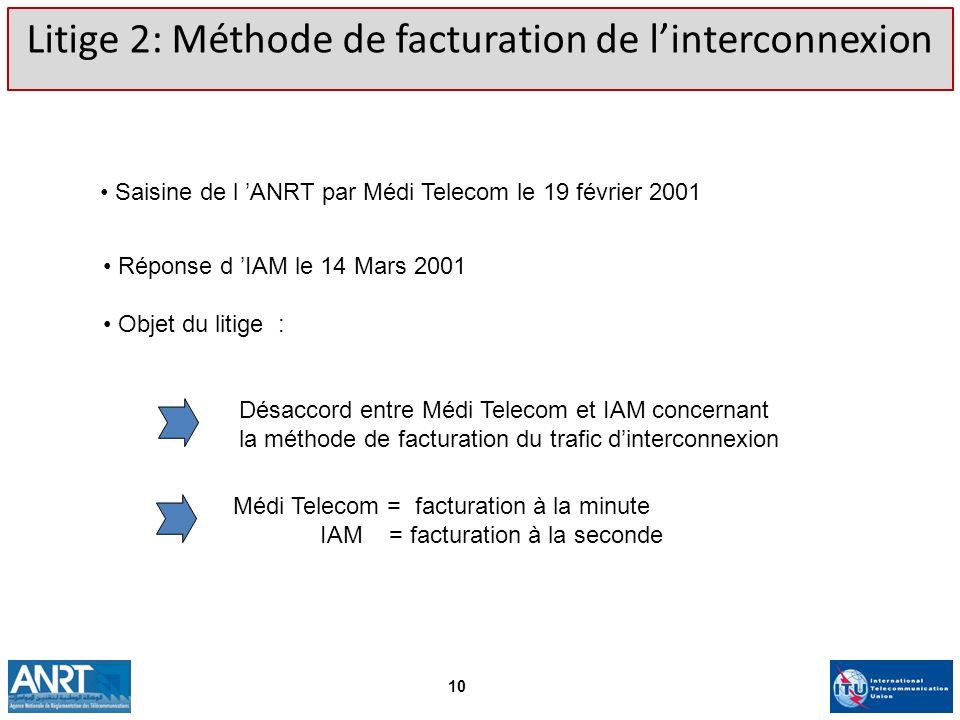 Litige 2: Méthode de facturation de l'interconnexion