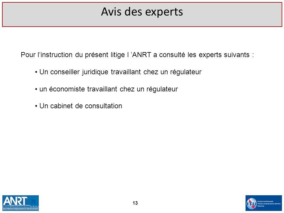 Avis des expertsPour l'instruction du présent litige l 'ANRT a consulté les experts suivants :