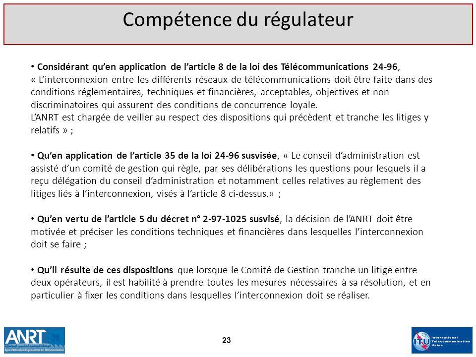 Compétence du régulateur