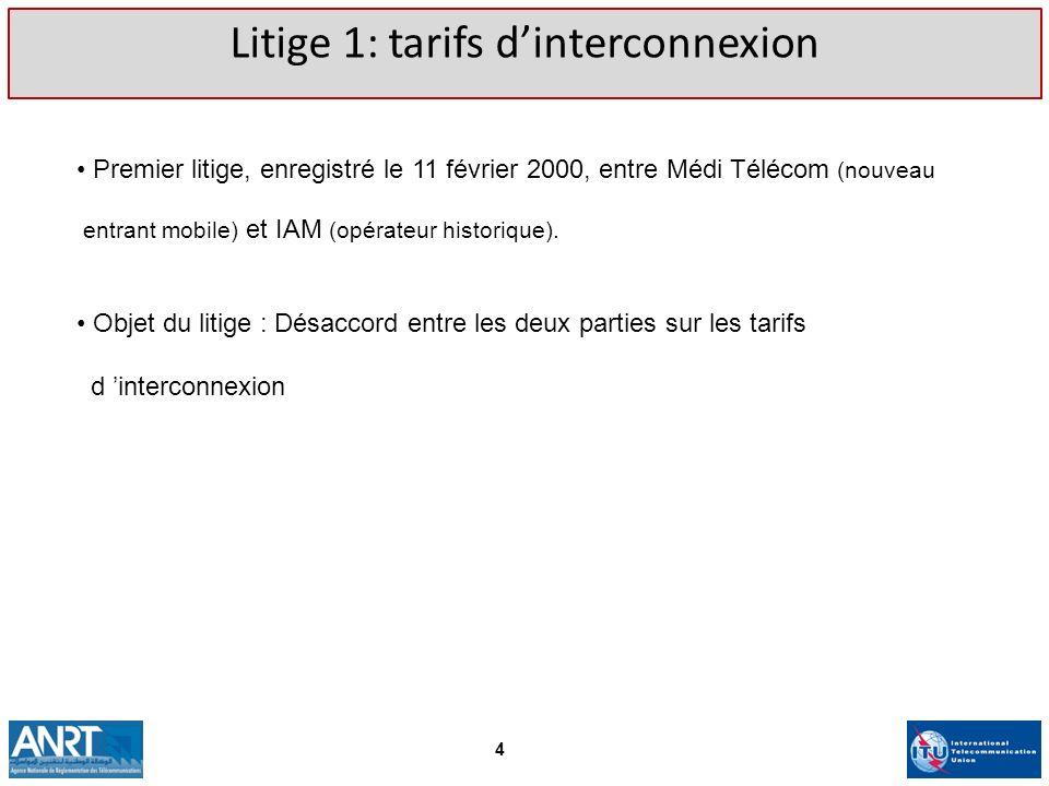 Litige 1: tarifs d'interconnexion