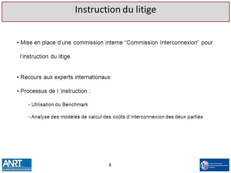 Instruction du litigeMise en place d'une commission interne Commission Interconnexion pour. l'instruction du litige.
