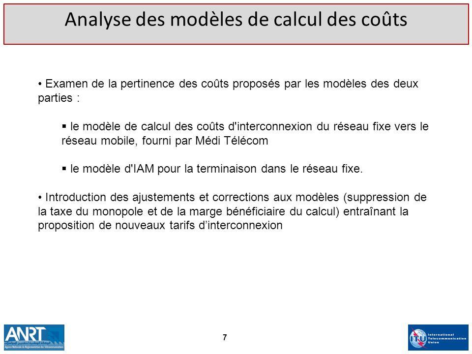 Analyse des modèles de calcul des coûts
