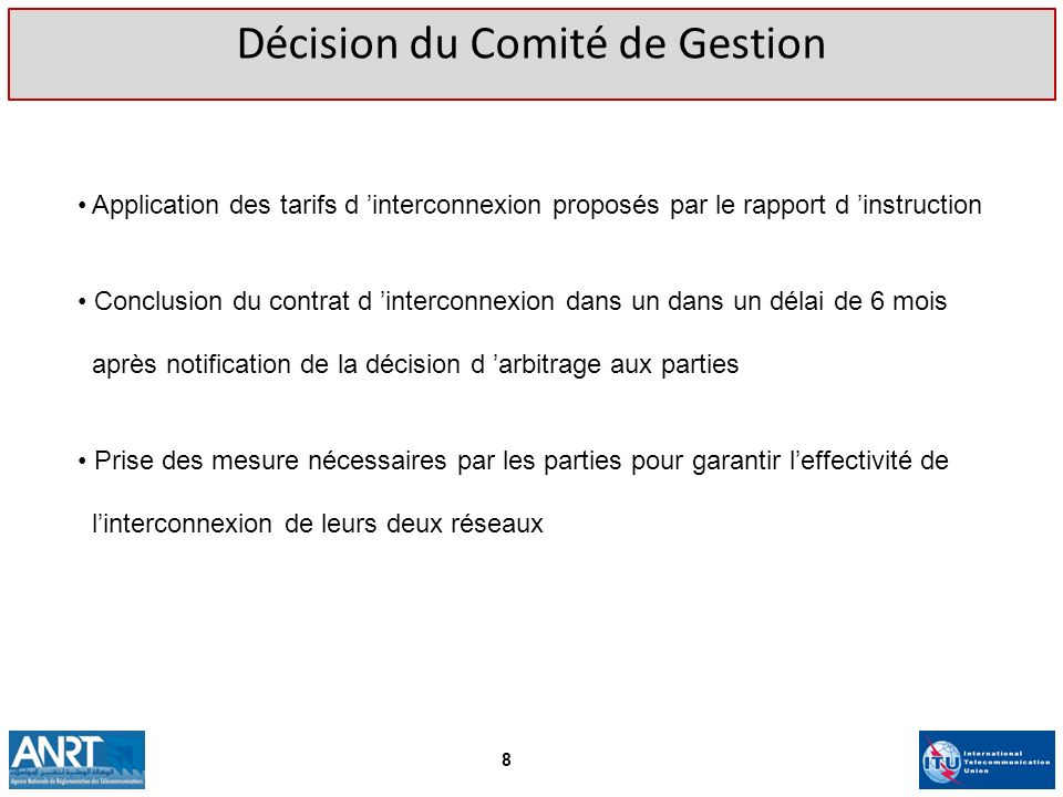 Décision du Comité de Gestion