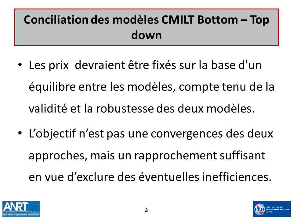 Conciliation des modèles CMILT Bottom – Top down