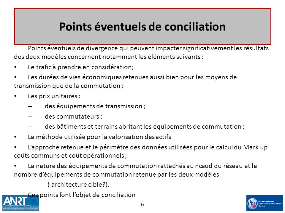 Points éventuels de conciliation