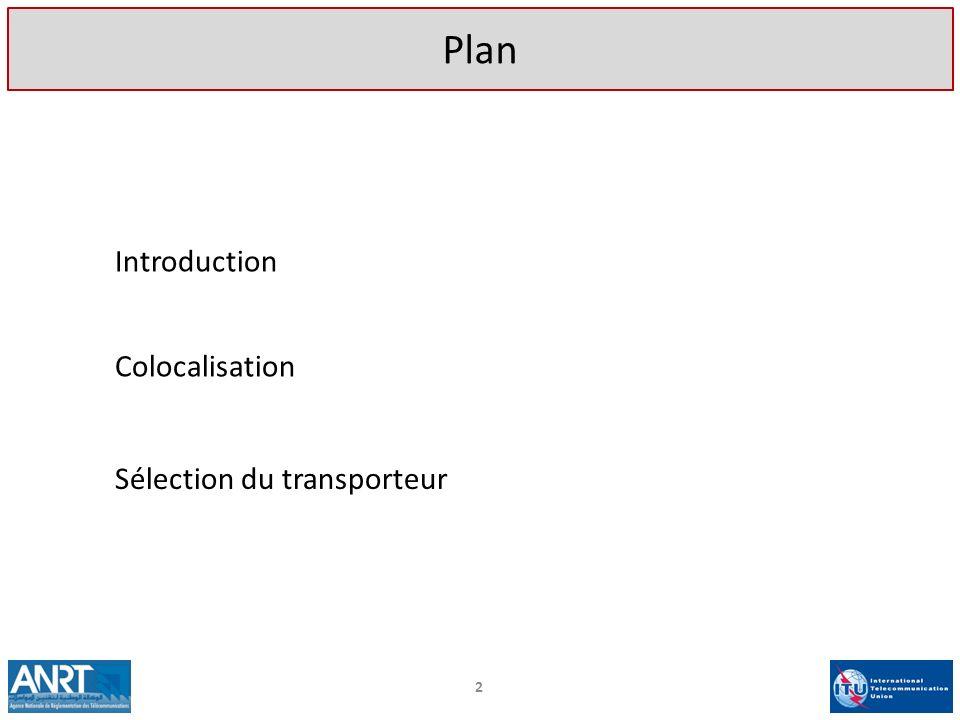 Plan Introduction Colocalisation Sélection du transporteur