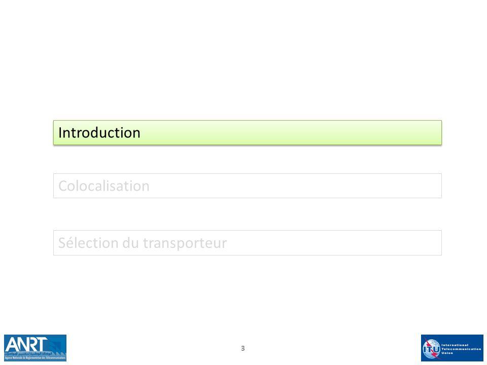 Introduction Colocalisation Sélection du transporteur