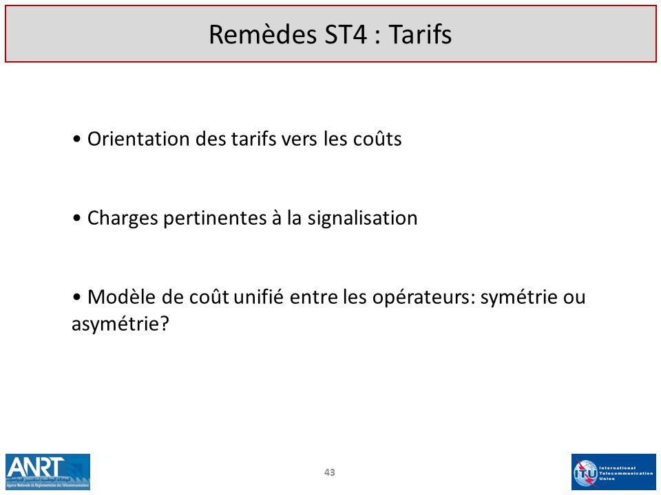 Remèdes ST4 : Tarifs Orientation des tarifs vers les coûts