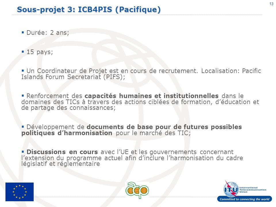 Sous-projet 3: ICB4PIS (Pacifique)