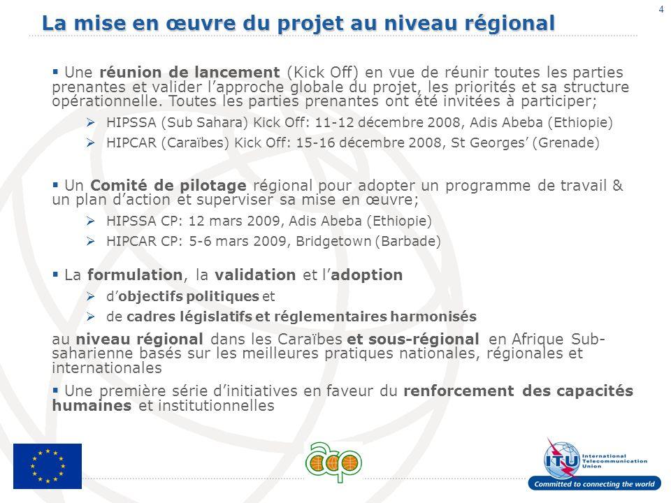 La mise en œuvre du projet au niveau régional