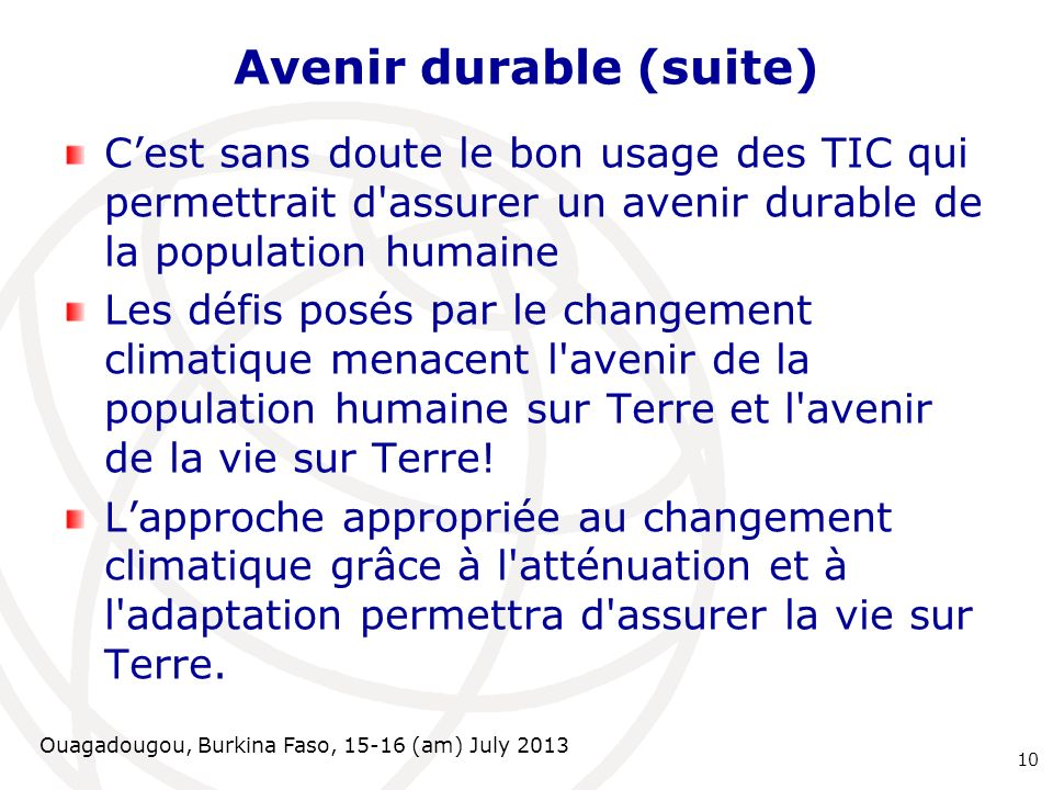 Avenir durable (suite)