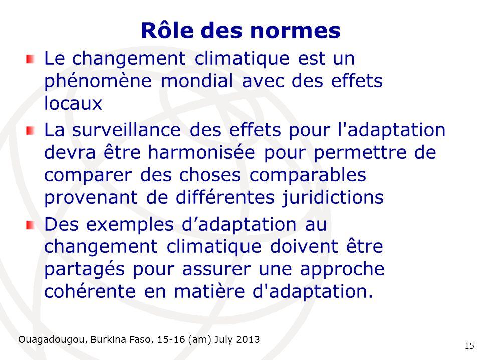 Rôle des normesLe changement climatique est un phénomène mondial avec des effets locaux.