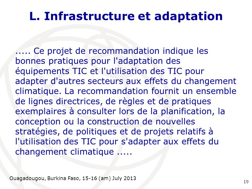 L. Infrastructure et adaptation