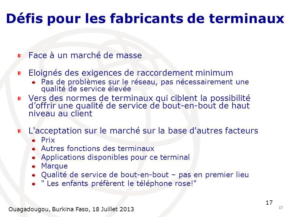 Défis pour les fabricants de terminaux