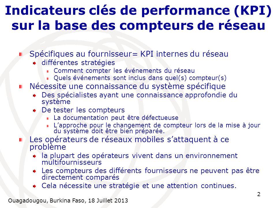 Indicateurs clés de performance (KPI) sur la base des compteurs de réseau