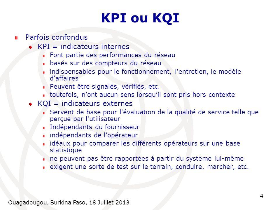 KPI ou KQI Parfois confondus KPI = indicateurs internes