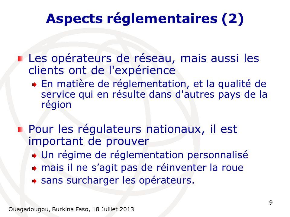 Aspects réglementaires (2)