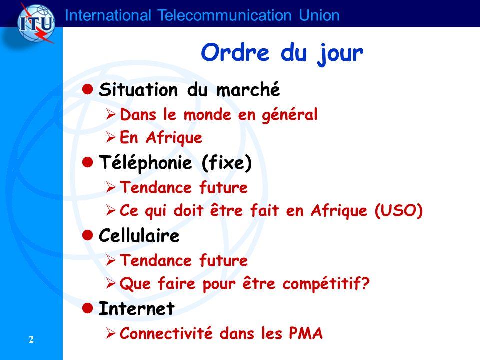 Ordre du jour Situation du marché Téléphonie (fixe) Cellulaire
