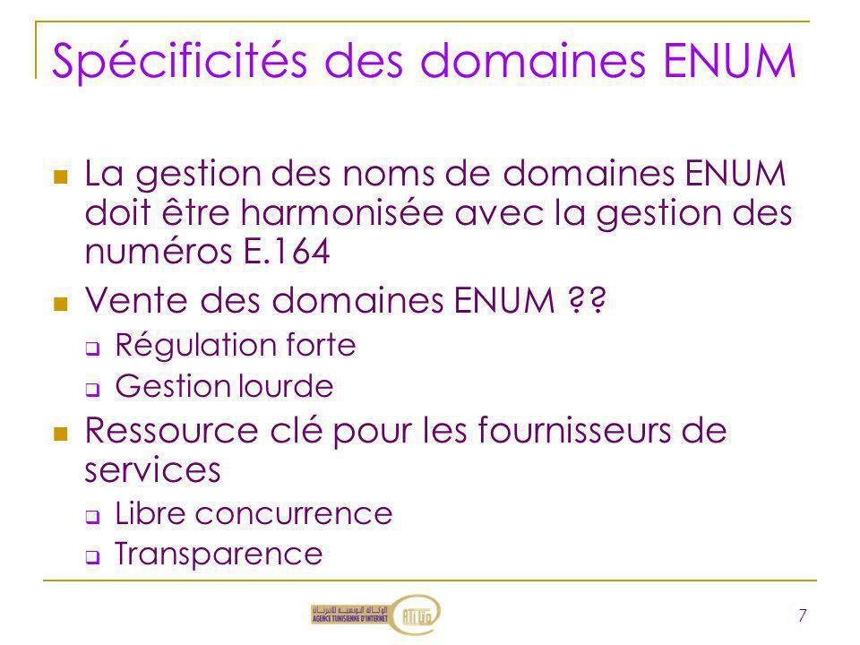 Spécificités des domaines ENUM
