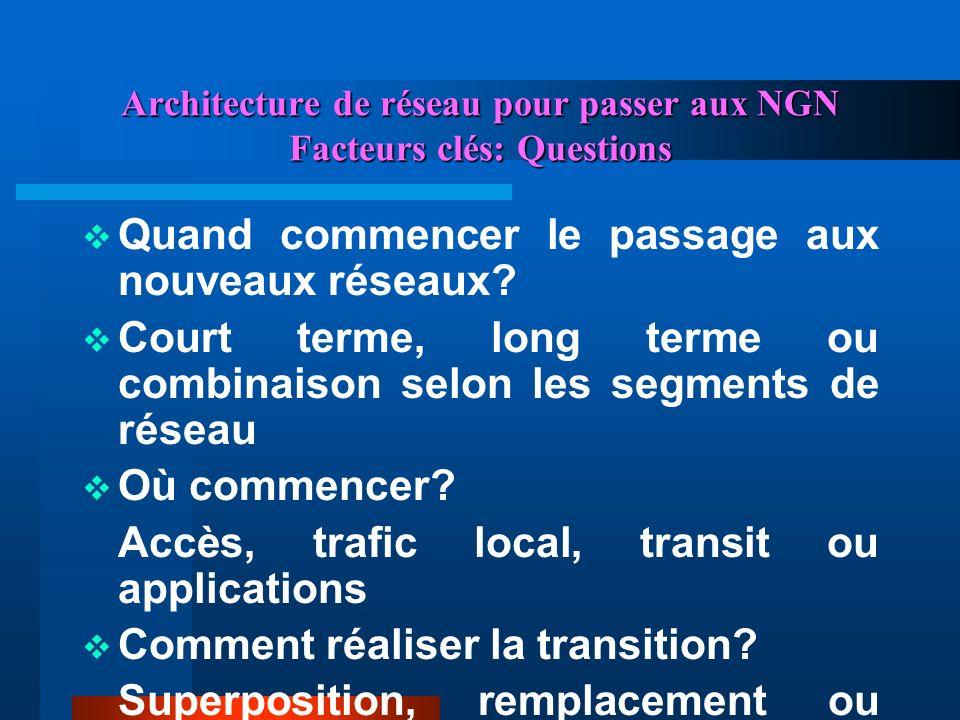 Architecture de réseau pour passer aux NGN Facteurs clés: Questions