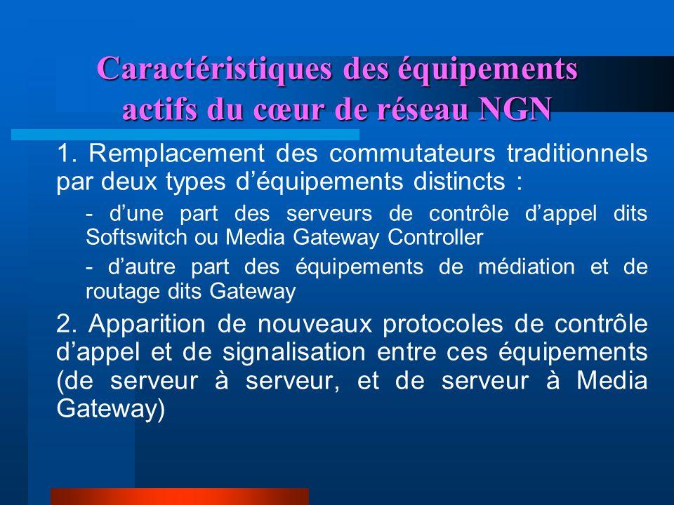 Caractéristiques des équipements actifs du cœur de réseau NGN