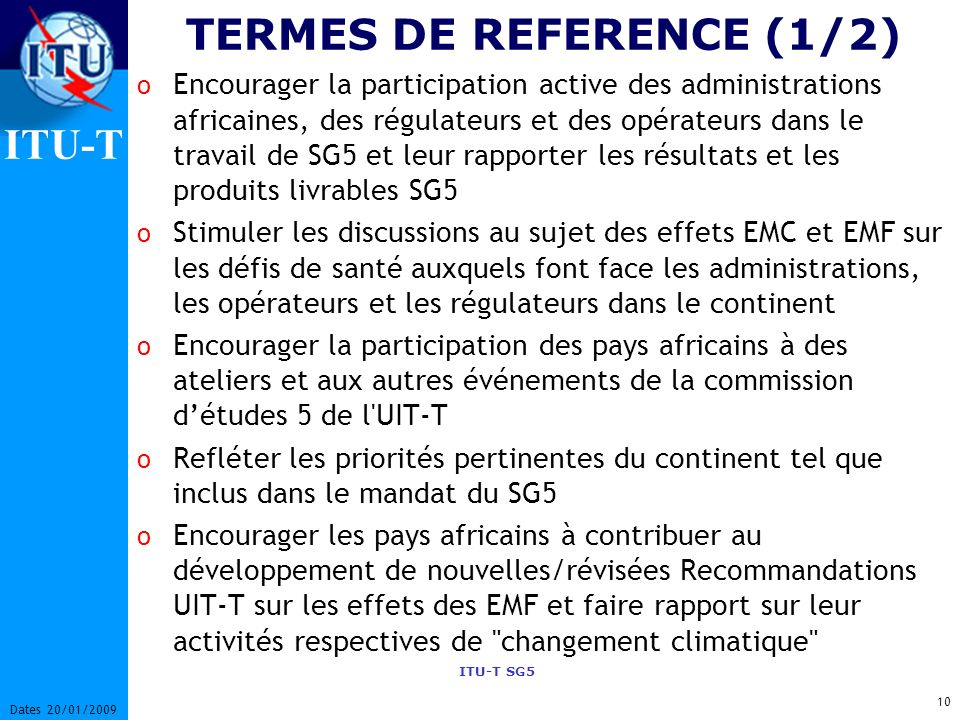 TERMES DE REFERENCE (1/2)