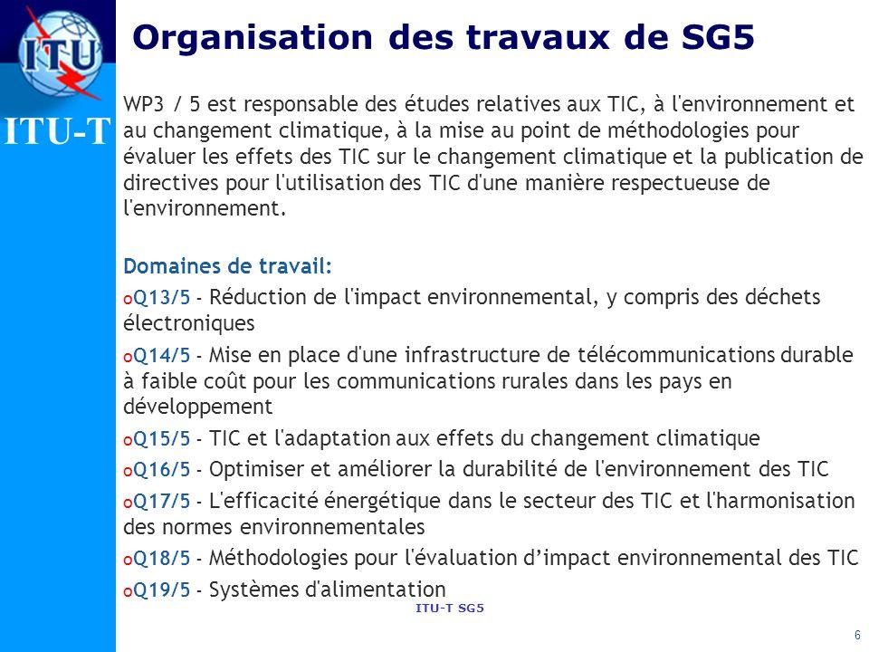 Organisation des travaux de SG5