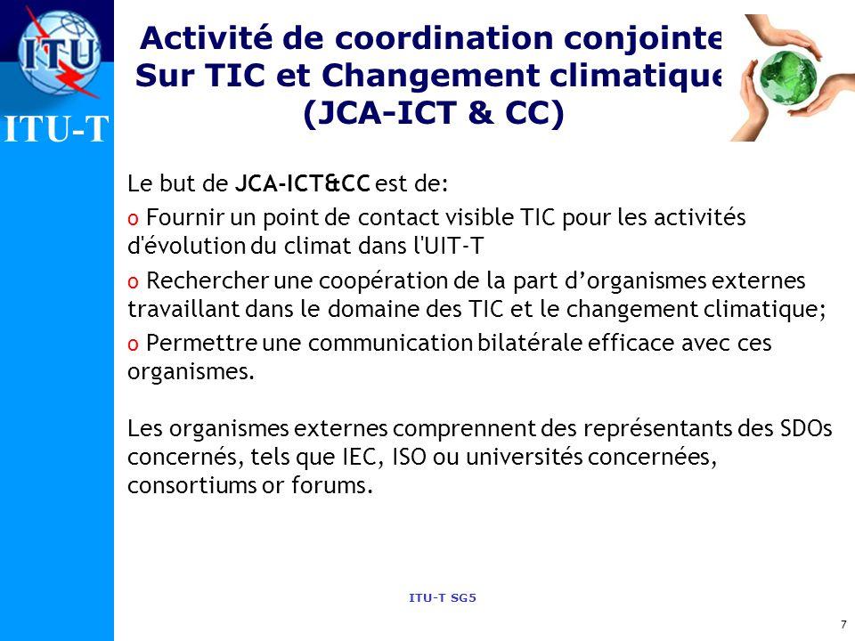 Activité de coordination conjointe Sur TIC et Changement climatique (JCA-ICT & CC)