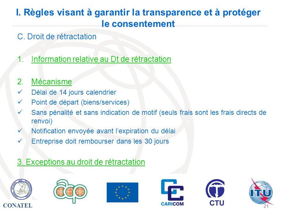 I. Règles visant à garantir la transparence et à protéger le consentement