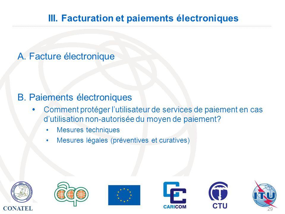 III. Facturation et paiements électroniques