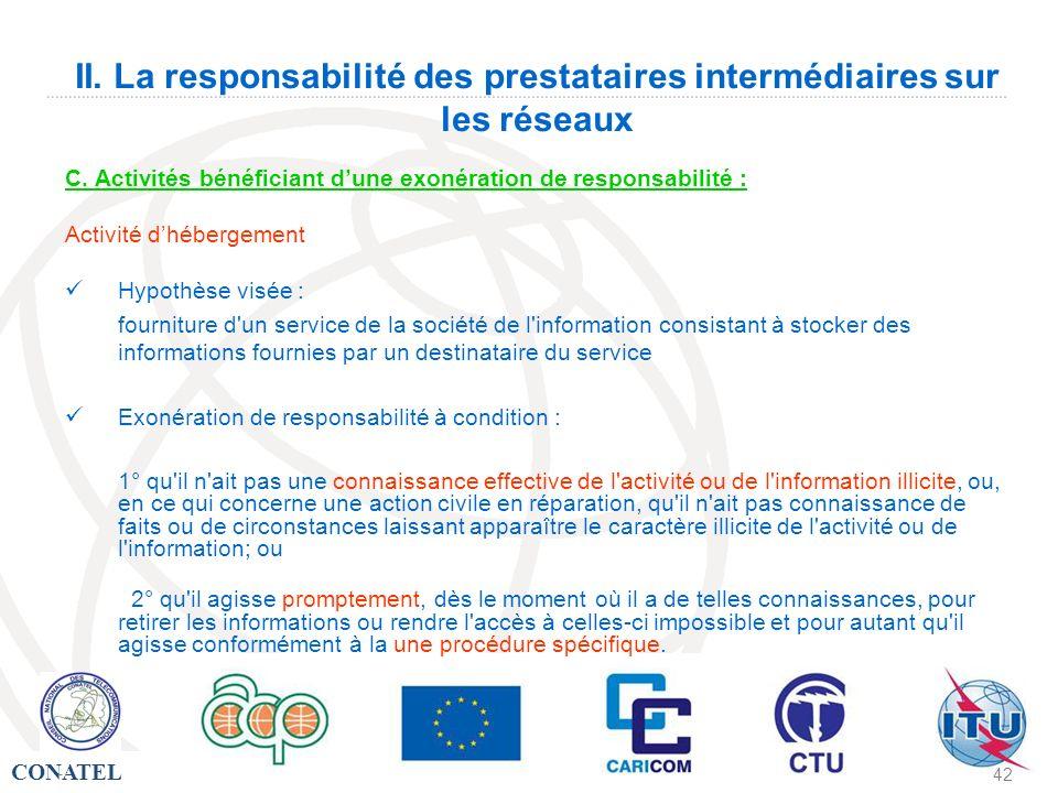 II. La responsabilité des prestataires intermédiaires sur les réseaux