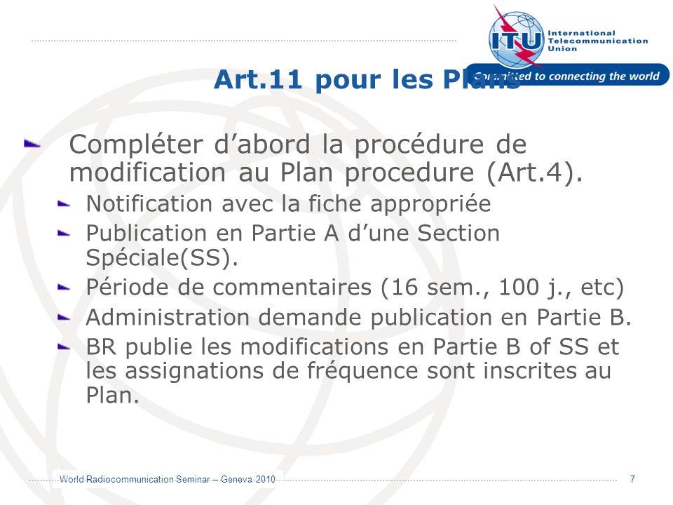 Art.11 pour les Plans Compléter d'abord la procédure de modification au Plan procedure (Art.4). Notification avec la fiche appropriée.