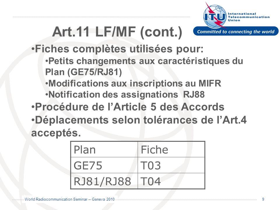 Art.11 LF/MF (cont.) Fiches complètes utilisées pour: