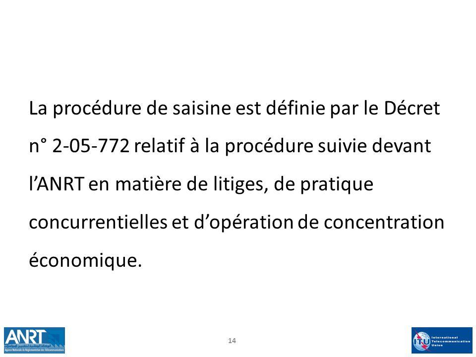 La procédure de saisine est définie par le Décret n° 2-05-772 relatif à la procédure suivie devant l'ANRT en matière de litiges, de pratique concurrentielles et d'opération de concentration économique.