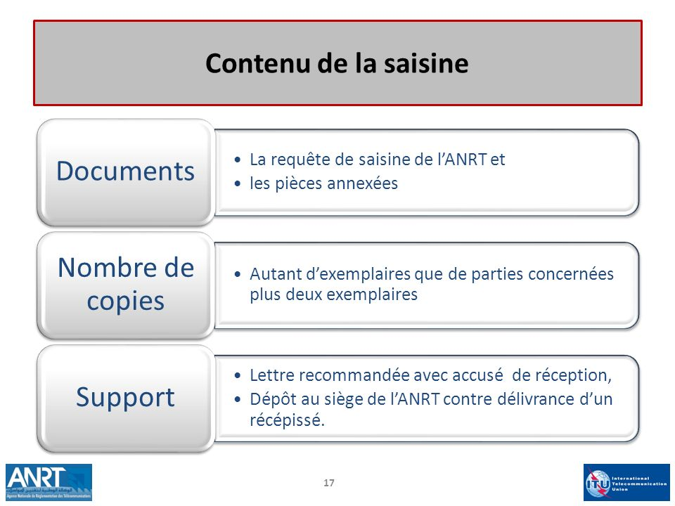 Contenu de la saisine Nombre de copies Documents Support