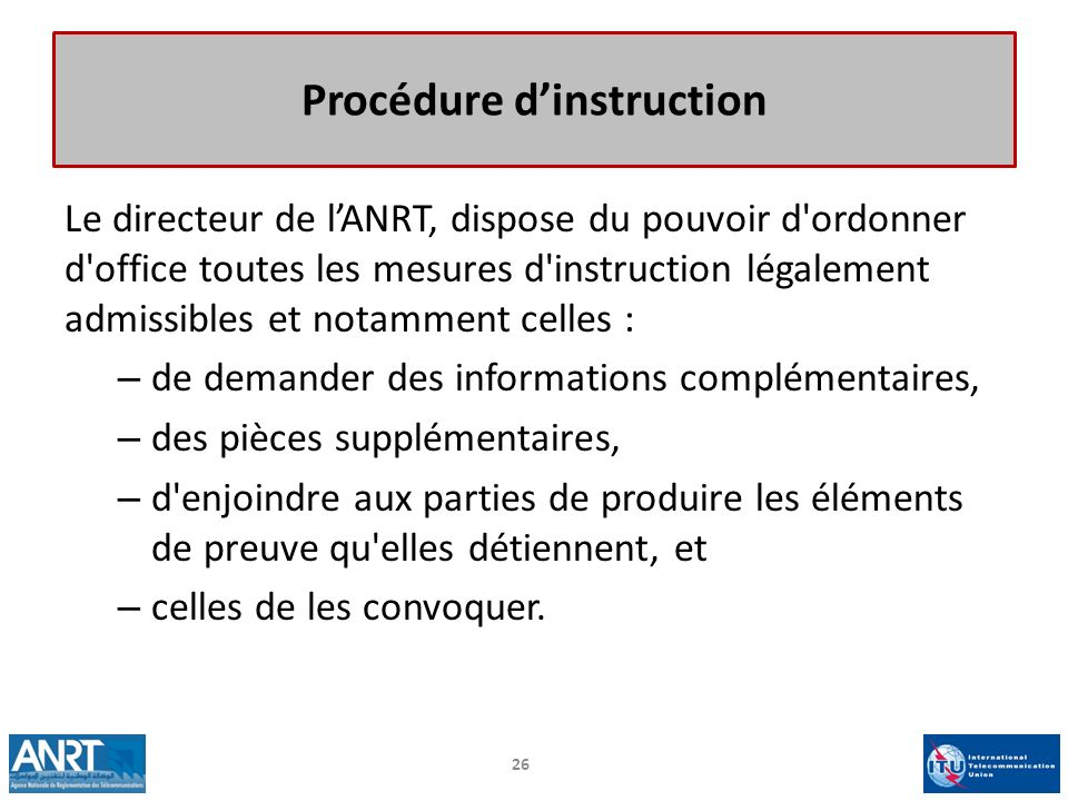 Procédure d'instruction