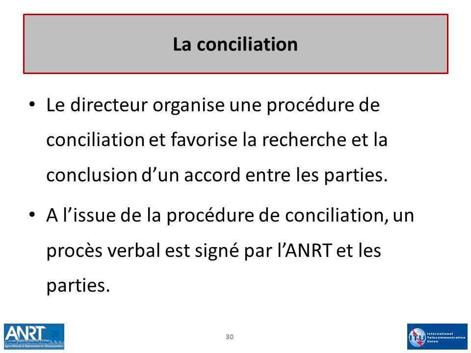 La conciliation Le directeur organise une procédure de conciliation et favorise la recherche et la conclusion d'un accord entre les parties.