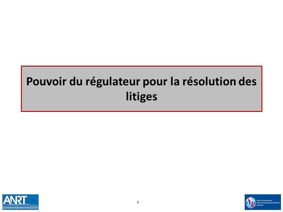 Pouvoir du régulateur pour la résolution des litiges