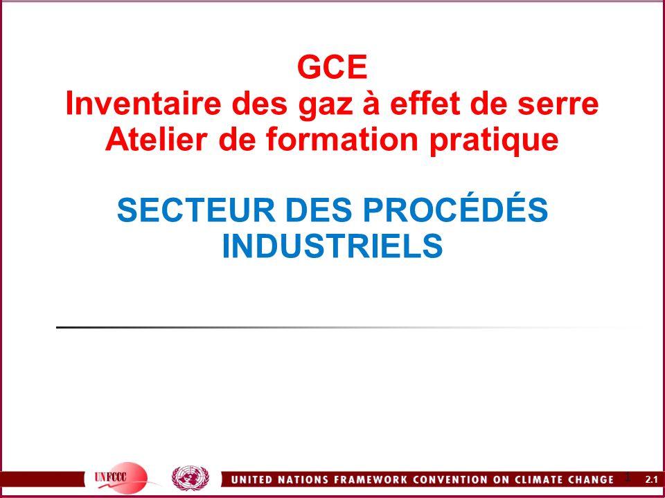 GCE Inventaire des gaz à effet de serre Atelier de formation pratique SECTEUR DES PROCÉDÉS INDUSTRIELS