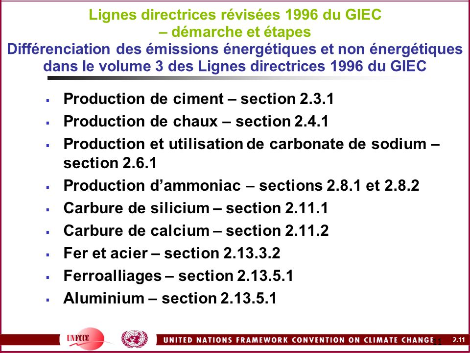 Production de ciment – section 2.3.1