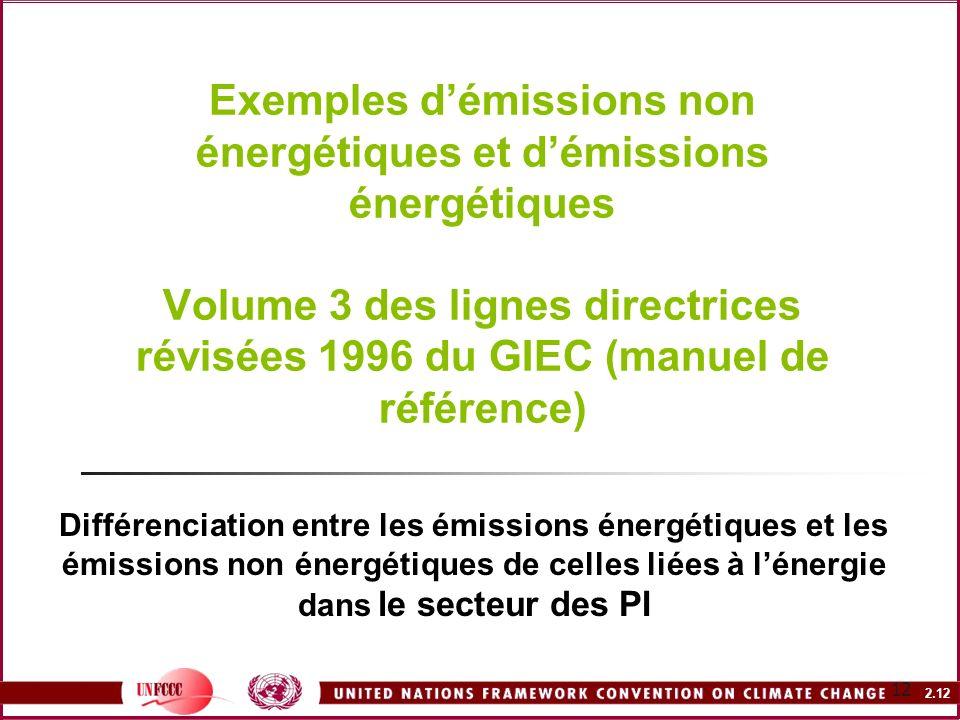 Exemples d'émissions non énergétiques et d'émissions énergétiques Volume 3 des lignes directrices révisées 1996 du GIEC (manuel de référence)