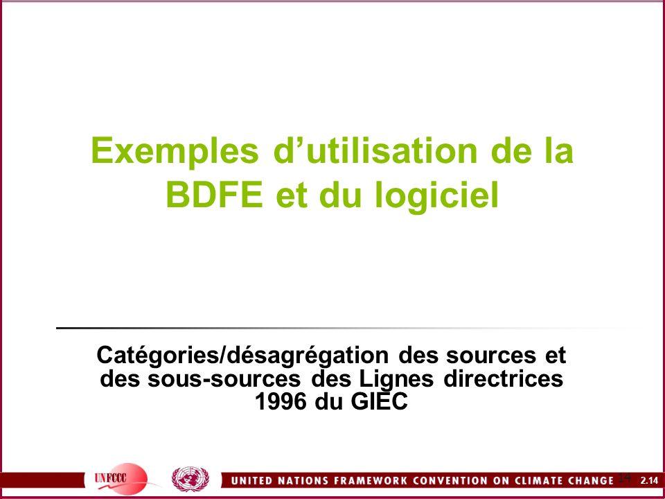 Exemples d'utilisation de la BDFE et du logiciel