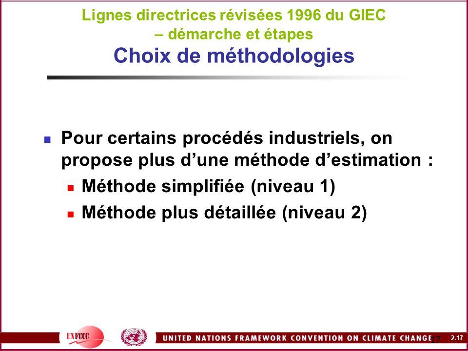 Méthode simplifiée (niveau 1) Méthode plus détaillée (niveau 2)