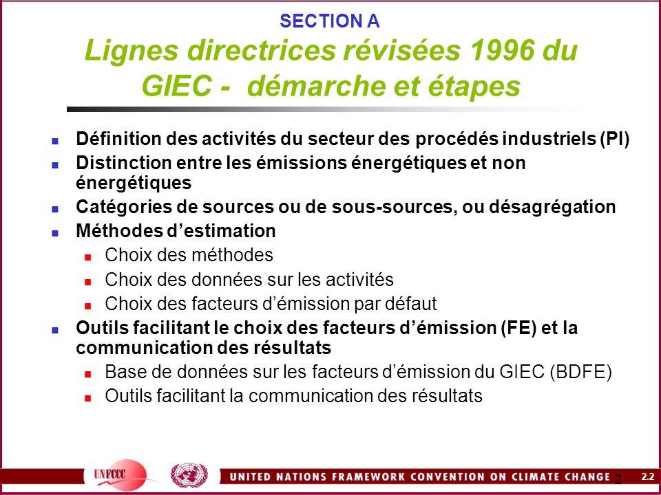 SECTION A Lignes directrices révisées 1996 du GIEC - démarche et étapes