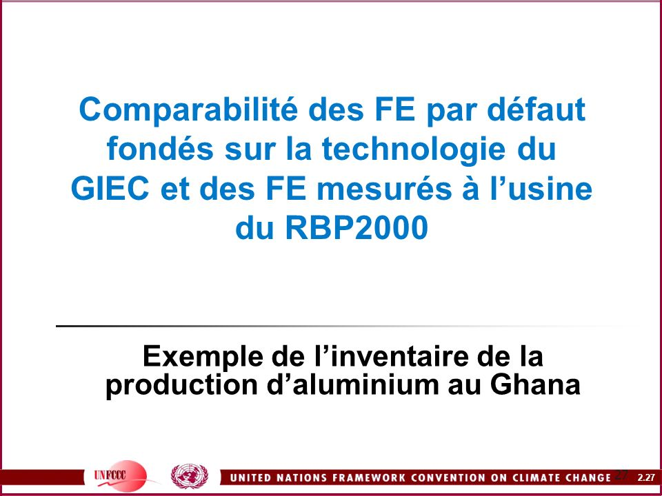 Exemple de l'inventaire de la production d'aluminium au Ghana