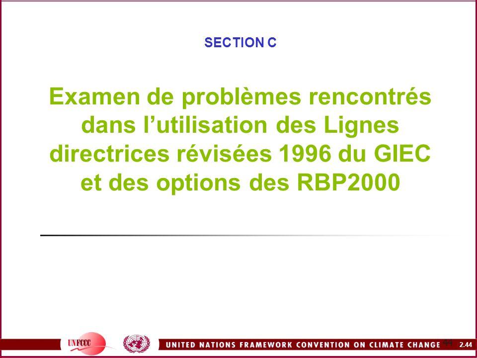 SECTION C Examen de problèmes rencontrés dans l'utilisation des Lignes directrices révisées 1996 du GIEC et des options des RBP2000