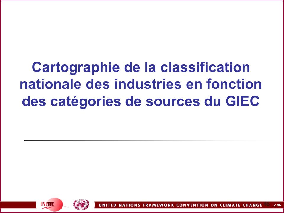 Cartographie de la classification nationale des industries en fonction des catégories de sources du GIEC