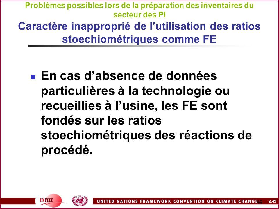 Problèmes possibles lors de la préparation des inventaires du secteur des PI Caractère inapproprié de l'utilisation des ratios stoechiométriques comme FE