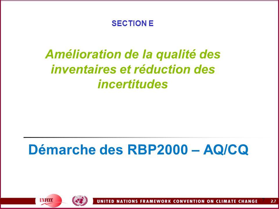 Démarche des RBP2000 – AQ/CQ