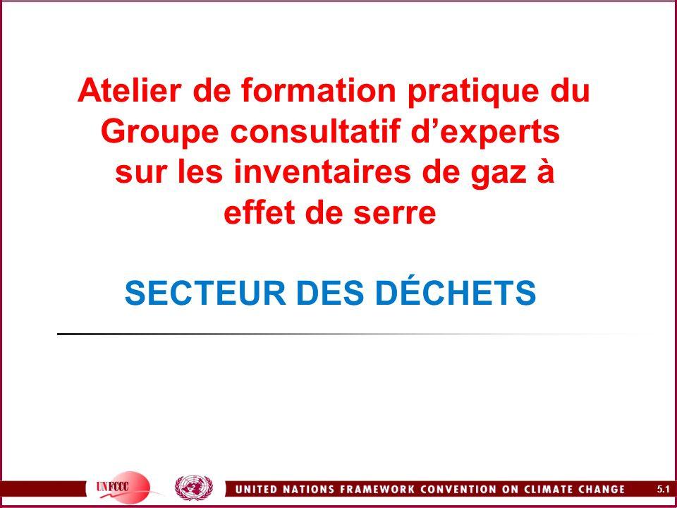 Atelier de formation pratique du Groupe consultatif d'experts sur les inventaires de gaz à effet de serre SECTEUR DES DÉCHETS